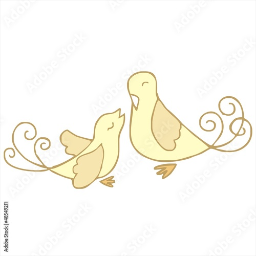 couple bird love cartoon vector