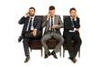 Business men talking by phones