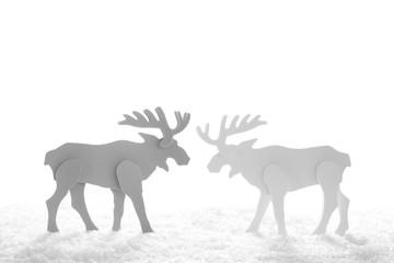 Hirsche isoliert als weißer Hintergrund