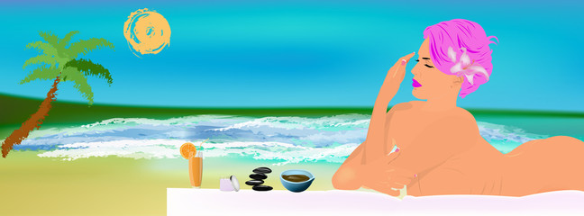 Body care. Spa and exotic massage.Rest on tropical island
