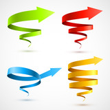 Set of colorful spiral arrows 3D