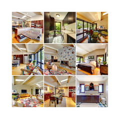 Collage of beautiful home interior.