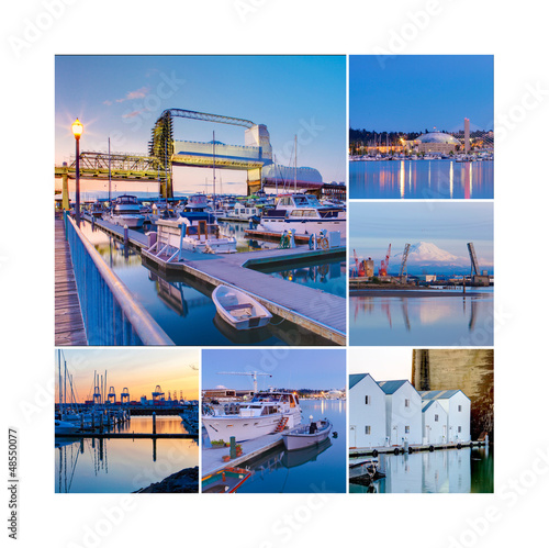 collage of Tacoma, pier, marina and boats on water.