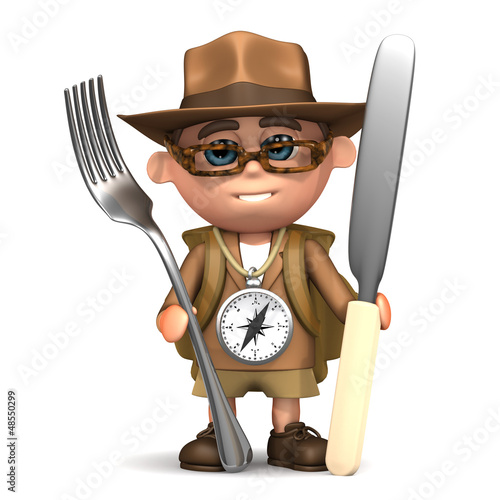 3d Explorer with knife and fork