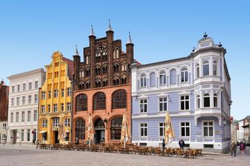 Häuserfront Stralsund Marktplatz