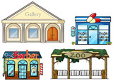 A gallery, drug store, barber shop and zoo