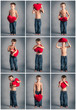 Collage of little boy with red heart images. Valentines Day