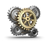 Business mechanism. Cogs and gears. Isolated