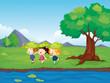 Three girls playing beside the pond