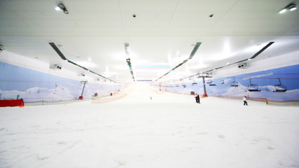 wide view of ski winter sector in close sport center