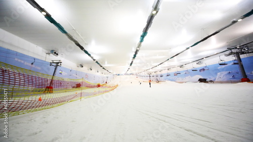 side and wide view of ski winter sector in close sport center