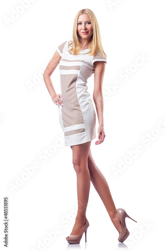 Tall attractive woman isolated on white
