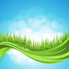 Nature ackground. Abstract backdrop with green grass wave. Bokeh