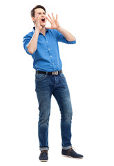 Man calling with hands near his mouth