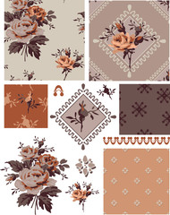1940s Vector Seamless Floral Patterns and Icons.