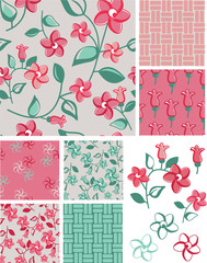 1930s Inspired Floral Vector Patterns and Icons.