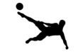 Fussballspieler Fallrückzieher mit Fussball