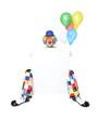 Lachender Clown hält leere Tafel