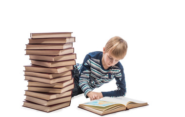 Schoolboy looking at the maps in the book, white background
