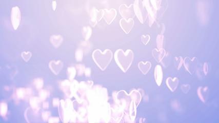 hearts flying on luminous background