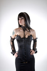 Gothic girl in black corset