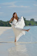asian bride on beach