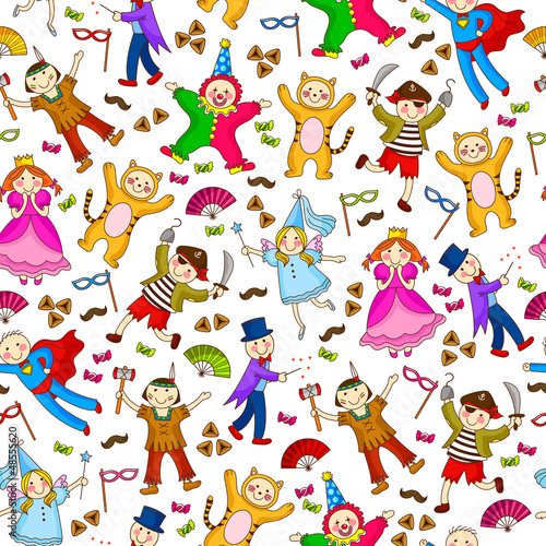 seamless pattern with kids wearing costumes