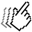 Pixelgrafik Hand - Zeigefinger in Bewegung