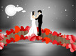 Valentines Day night background with newly married couple dancin