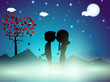Valentines Day winter night background with love tree and cute c