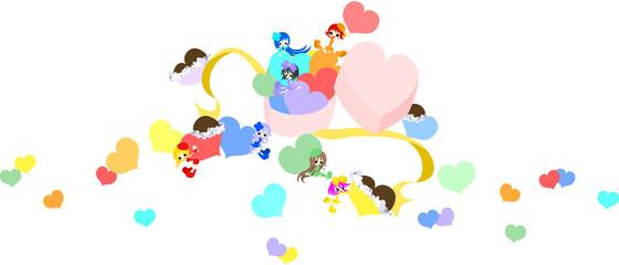 チョコレートのたっぷり詰まったハートの箱から飛び出たのは、7色の妖精達。