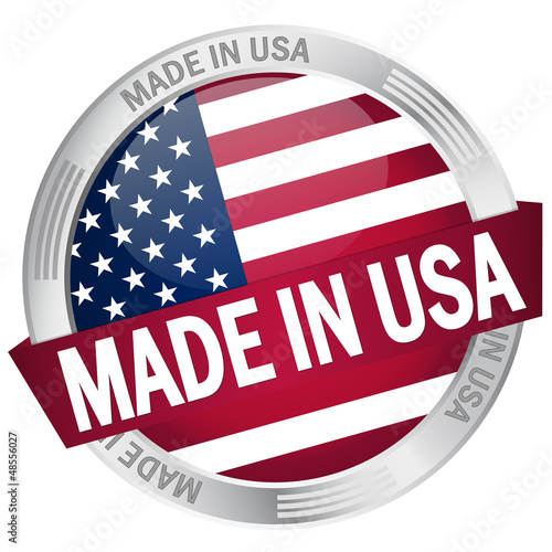 "Button mit Banner ""Made in USA"""