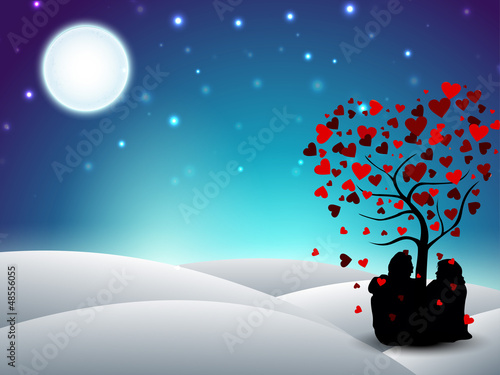 Valentines Day winter background with sitting couple silhouette