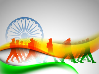 Indian flag color creative wave background with Asoka wheel and