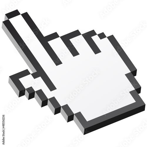 In de dag Pixel 3D Pixelgrafik Hand - Zeigefinger