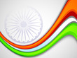 Indian flag color creative wave background with  Asoka wheel. EP