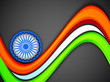 Indian flag color creative wave background with 3D Asoka wheel.