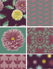Dahlia Flower Floral Vector Seamless Patterns.