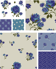 Pretty Blue Rose Floral Seamless Patterns and Icons.