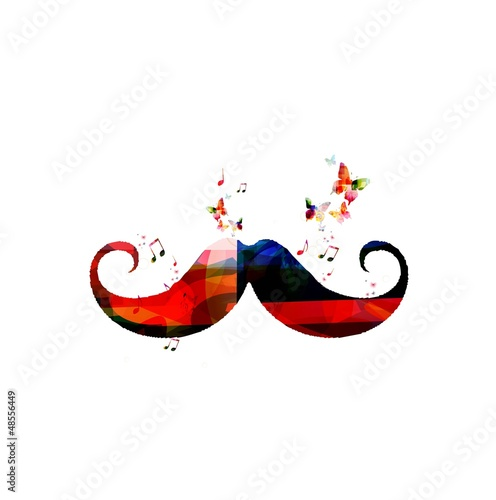 Abstract vector mustache background with butterflies