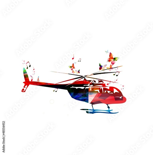 Abstract vector helicopter background with butterflies