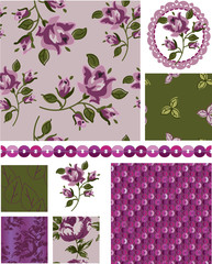 Mother's Day Floral Rose Vector Seamless Patterns and elements.