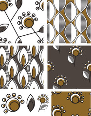 Contemporary Tribal Floral Vector Patterns