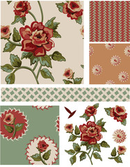 Vintage Style Floral Seamless Vector Patterns and Elements.