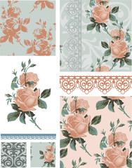 Vintage Rose Floral Seamless Patterns.