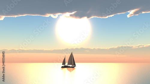 Sailboat cloudy sunset