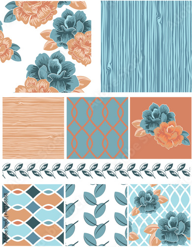 Bright Winter Floral Peony Seamless Patterns, fills and border.