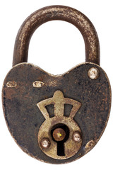 Vintage corroded padlock isolated on white