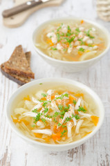 vegetable soup with chicken, cabbage and parsley