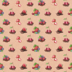Watercolor pattern with berry illustrations